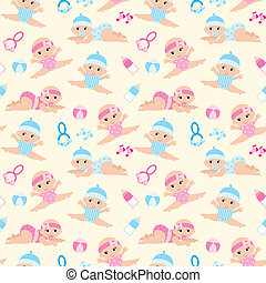Seamless babies pattern.