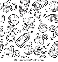 Seamless baby background - Doodle style and infant objects...