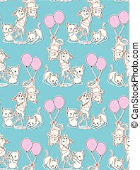 Seamless baby cats with a balloon pattern.