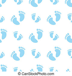 Vector illustration of a seamless baby feet pattern in blue