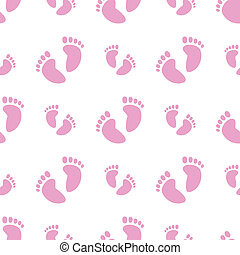 Seamless Baby Feet Background (Girl) - Vector illustration...