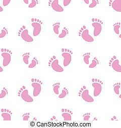 Seamless Baby Feet Background (Girl) - Vector illustration...