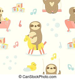 Seamless baby pattern with cute sloths
