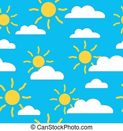Seamless baby summer pattern with sun and cloud