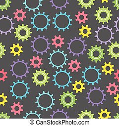Seamless baby texture with colored gears on a dark background. Vector illustration.