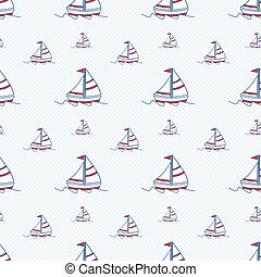 Seamless baby vector pattern. Many small colored sail boats on white background