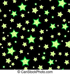 Seamless bacgkround with cartoon fluorescent stars - Cartoon...