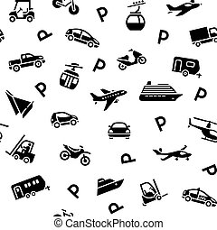 Seamless backdrop transport icons, wrapping paper