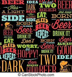 Seamless backdrop with quotes on the theme of Beer. Black background