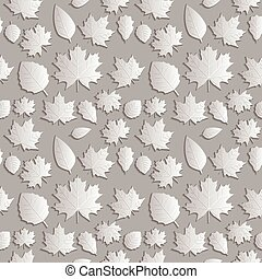 Seamless background abstract illustration of nature. Figure 3D, the leaves of maple trees, aspen, oak. Colour silver lighter shade. Vector EPS8.