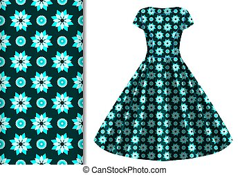 Seamless background and pattern with floral ornament and dress layout design concept for fabric and print paper