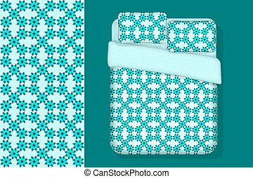 Seamless background and pattern with flower ornament and bed layout design concept for fabric and print paper, vector illustration