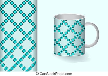 Seamless background and pattern with flower ornament and with a mug layout design concept for fabric and print paper