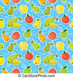 Seamless background, apples and pears