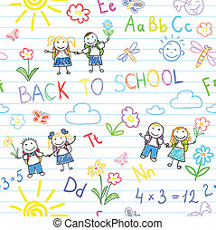 Seamless background. Back to school