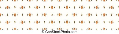 Seamless background beetle insect gender neutral baby border pattern. Simple whimsical minimal earthy 2 tone color. Kids nursery wildlife bug edging fashion.