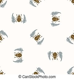 Seamless background beetle insect gender neutral pattern. Whimsical minimal earthy 2 tone color. kids nursery wallpaper or boho cartoon bug fashion.
