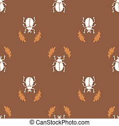 Seamless background bug insect gender neutral pattern. Whimsical minimal earthy 2 tone color. kids nursery wallpaper or boho cartoon insect beetle fashion.