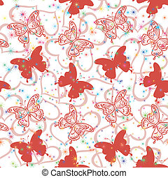 Seamless background, butterflies and hearts