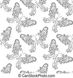 Seamless background, butterflies contours - Seamless...