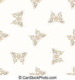 Seamless background butterfly gender neutral pattern. Whimsical minimal earthy 2 tone color. kids nursery wallpaper or boho cartoon bug fashion.