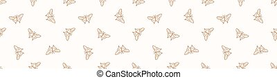 Seamless background butterfly insect gender neutral baby border pattern. Simple whimsical minimal earthy 2 tone color. Kids nursery wildlife rhopalocera edging fashion.