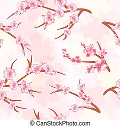 Seamless background - cherry blossoms. Branches of a cherry blossoming.Vector Illustration .Eps 10.