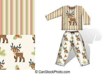 Seamless background Christmas deer pajamas with mock up and seamless pattern concept for design of fabric and paper for printing