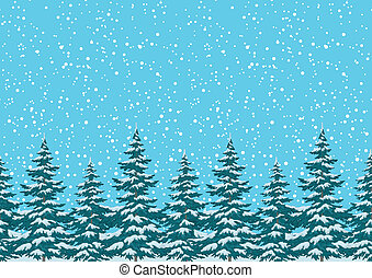 Seamless background, Christmas holiday trees against the blue sky with snow. Vector