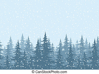 Seamless horizontal background, Christmas holiday trees against the blue sky with snow.