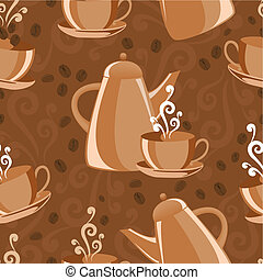 Vector seamless background with coffee set