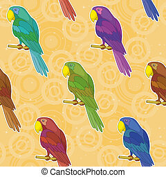 Seamless background, colorful parrots