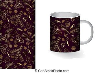 Seamless background Cup and mock up with golden ornament Concept for design of fabric and paper for printing