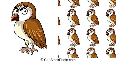 Seamless background design with angry owl