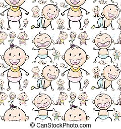 Seamless background design with babies