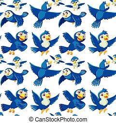 Seamless background design with blue bird