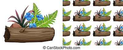 Seamless background design with blue flowers and ferns
