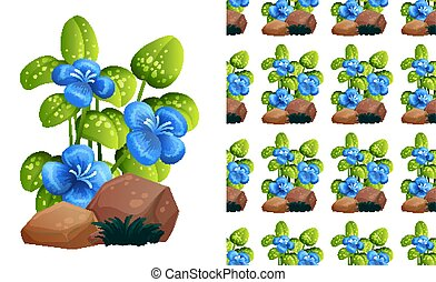 Seamless background design with blue flowers on stones