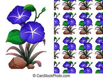 Seamless background design with blue morning glory flowers
