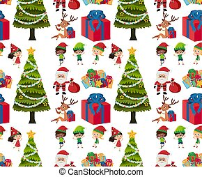 Seamless background design with christmas tree