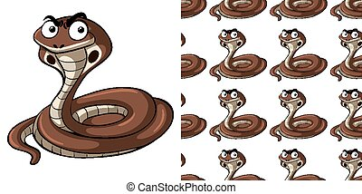 Seamless background design with cobra snake