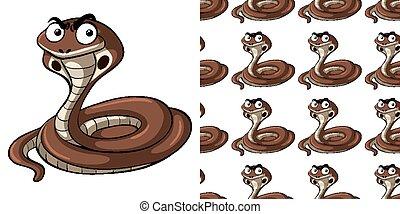 Seamless background design with cobra snake