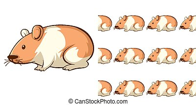 Seamless background design with cute hamster