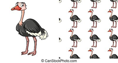 Seamless background design with cute ostrich