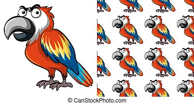 Seamless background design with cute parrot