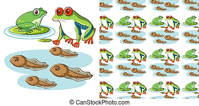 Seamless background design with frogs and tadpoles