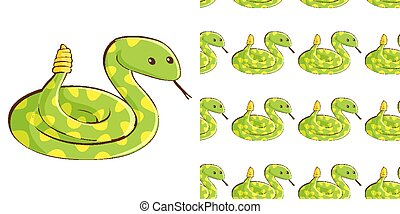 Seamless background design with green snake