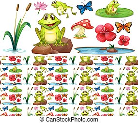 Seamless background design with happy frogs in the pond