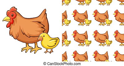 Seamless background design with hen and chick