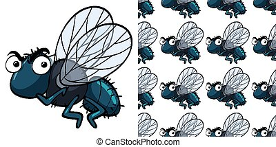 Seamless background design with housefly illustration